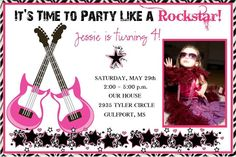 Rockstar - Pink printable digital invitation. $13.50, via Etsy.