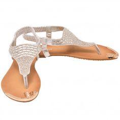 Lucita Adult Silver Stone Encrusted Elastic Strap Flip Flop Sandals 5.5-10 Women