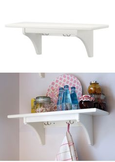 Create extra space in the kitchen using the STENSTORP wall shelf and even has hooks for hanging!