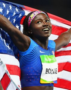 Tori Bowie of the United States celebrates after the Women's 100m Final on Day 8…