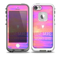 The Love More Worry Less at Dawn Sunset v3 Skin for the iPhone 5-5s frē LifeProof Case