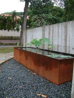 Pot Company: Corten steel pond / water feature 4 of 6 Landscape Architecture, Landscape Design, Water Features In The Garden, Garden Spaces, Water Garden, Dream Garden, Garden Inspiration, Backyard Landscaping, Outdoor Gardens