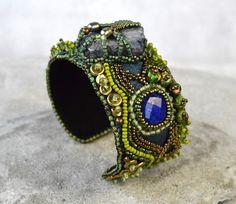 Blue Boho Cuff  Elven Cuff Bracelet  Chunky by JewelledAlchemy