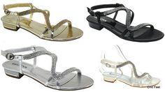 New Womens Diamante Flat Low Heel Bridal  Prom Evening Wedding Sandals UK 3 - 8