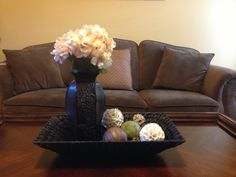 Coffee table decor....love the textures!
