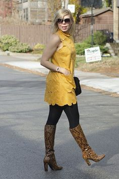 "Snakeskin boots and yellow dress -  As first seen on blog ""YomanChic"" here: Snakeskin boots and yellow dress  She is wearing tights similar here: Black Super Opaque Tights Look sleek in these super opaque high-waist 70 denier opaque stretch nylon tights that comfortably shapes your torso with built-in control top and sandal toe.  #tights #pantyhose #hosiery #nylons #tightslover #pantyhoselover #nylonlover #legs"