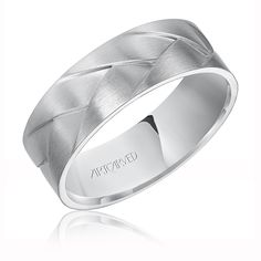 "ArtCarved Men's ""Wade"" Woven 14k White Gold Wedding Band"
