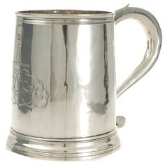 A beautiful Queen Anne straight sided antique silver mug made in 1707 in London. View our collection of antique silver at www.rutherford.com.au London View, Antique Engagement Rings, Queen Anne, Antique Silver, Art Deco, Gemstones, Pearls, Antiques, Tableware