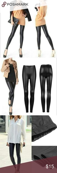 *HP* Faux Leather Skinny Black Leggings Ultra chic Women's leather leggings. Rock the look of leather for fraction of the cost. The waist can be stretched from 10 to 19 inches. Pairs well with all kinds of outfit. Great for everyday wear or special night out at the town.   Item: Women leggings  Material: Faux leather  Color: Black  Size: M  Stretchable: Yes  Length: 35 inches sparklingmine Pants