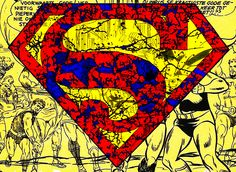 Superman Logo Distressed Pen and Ink Colored Illustration PRINT various sizes available comic book man of steel graphic novel symbol hero by WyldTrees on Etsy