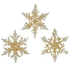 RAZ Imports - Gold Glittered Snowflake Ornaments - Set of 3 We help you make Everything PerfectlyFestive for the Holidays! Part 2615519 Gold Glittered Snowflake Ornaments Set Seasonal Decor, Fall Decor, Holiday Decor, Black Christmas Decorations, Snowflake Ornaments, Real Snowflakes, Golden Glitter, Holiday Mood, Happy Holidays