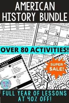 American History: Grab everything you need for the ENTIRE Y-E-A-R for your U.S. History course in upper elementary or middle school. This YEAR LONG BUNDLE includes 81 activities to choose from and you can get it now for 40% OFF! From Jamestown or the 13 Colonies to the Civil War or Civil Rights Movement! From escae rooms, to Google slides™ and Scavenger Hunts to Reading Comprehension, there's something for every type of learner. Give yourself a break and start saving time today! #ThinkTank Social Studies Activities, History Activities, Reading Passages, Reading Comprehension, Us History, American History, Revolutionary War Battles, Types Of Learners, Middle School History