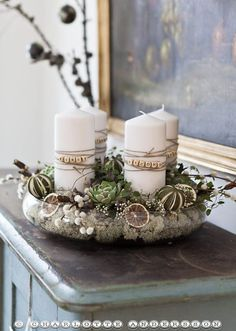 Make your own Advent wreath - 90 simple decorating ideas that are very stylish and ., Make your own advent wreath - 90 simple decorating ideas that are very stylish and original Make your own advent wreath - 90 sim. Noel Christmas, Christmas Candles, All Things Christmas, Winter Christmas, Christmas Wreaths, Christmas Crafts, Advent Wreaths, Christmas Ideas, Advent Candles