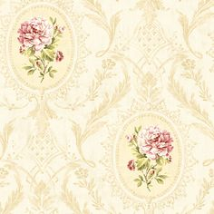 CW20407-Eloisee Rose Cameo Damask wallpaper