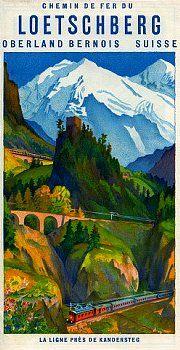 Vintage Railway Travel Poster - Loetschberg -  Berner Oberland - Switzerland - 1937.