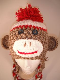 Crochet Sock Monkey Hat. $26.00, via Etsy.