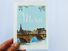 PARIS NOTE CARDS: Merci on the Bridge