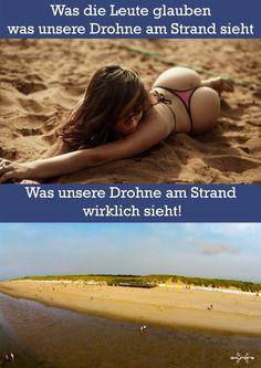 Was unsere Drohne am Strand sieht. Was Leute denken und was sie wirklich sieht.