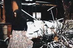 winter fashion & snow & maxi skirt & fashion photography