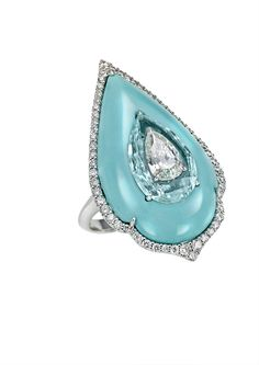 Bogh-Art diamond inlaid into Paraiba tourmaline, inlaid into turquoise ring (£16,900).