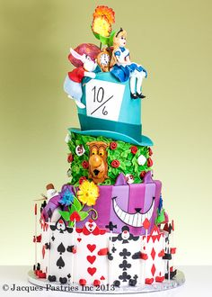 Awesome Alice in wonderland cake!...I'd like it more without Alice on it and had they just had the rabbit with a big clock. don't like how they made her.
