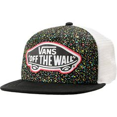 California skate style plus a little bit of spray paint go a long way with the Vans Overspray splatter Trucker hat! With a black padded front with colorful splatter paint and white mesh back you can feel the cool breeze and stay chill all day with the Vans original logo at front, flat bill, and snapback adjustment at back. This girls trucker style snapback hat is a great fit for anyone so bring the beach to you in the Vans Black Overspray snapback hat.