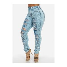 Ripped Skinny Jeans with High Waist (Acid Wash) ($40) ❤ liked on Polyvore featuring jeans, blue jeans, high-waisted acid wash skinny jeans, high-waisted skinny jeans, blue skinny jeans and high waisted distressed skinny jeans