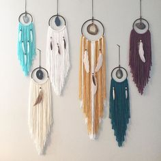 """WEBSTA @ vintagerubia - Hello loves! I have some Day Dreamers available. Listing left to right 1 2 3 4 5 order. If you would like to claim please comment with number, email address and zip or postal code. 1 blue/white agate day dreamer, Aqua fringe 4""""hoop 20"""" long $20.00---SOLD2 brown agate day dreamer, off white fringe 5"""" hoop 26"""" long $25.00 ---SOLD3 blue agate day dreamer, white fringe 5"""" hoop 25"""" long $25.00 ---SOLD4 golden agate day dreamer, mustard"""