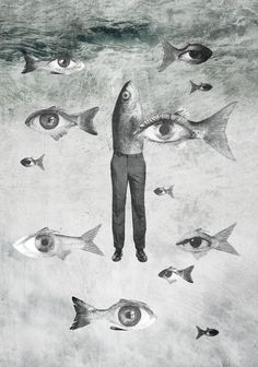 """Sometimes discomfort helps. """"Public Relations"""", a new little project on my Behance page. Collage Kunst, Surreal Collage, Surreal Art, Collage Art, Fish Collage, Art Sketches, Art Drawings, Art Magique, Arte Indie"""