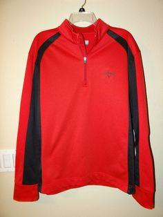 Callaway Golf Pullover Shirt Mens sz L 1 4 Zip Long Sleeve Red Black  Sweatshirt f77958d0d928