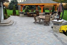 Backyard landscaping idea with Large paver patio and pretty pergola. Large Backyard Landscaping, Backyard Patio Designs, Landscaping Ideas, Pergola With Roof, Pergola Patio, Curved Pergola, Wooden Pergola, Patio Roof, Pavers Patio