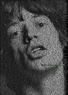 Mick Jackson.  Mind-Blowing Text Portraits of Famous Musicians and Artists by Caroline Stanley. Image credit: Ralph Ueltzhoeffer