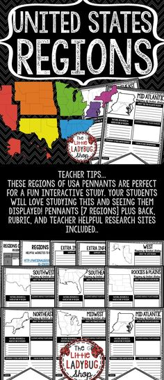 You will love these Regions Of The United States Activity Pennants! The U.S. Regions Posters are perfect for a quick interactive activity to study the regions. Your students will love researching and studying using these! They will be perfect to display after completion.