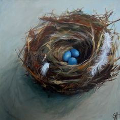 Original acrylic nest and eggs painting on stretched canvas by Peacock Garden on Etsy.  You can also purchase prints from their second shop called Art Paper Garden.
