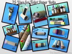 25 Uses for Toilet Paper Rolls. toilet paper roll crafts, upcycling toliet paper rolls, toilet paper roll art!