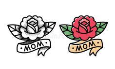Mom Tattoos, Trendy Tattoos, Black Tattoos, Tattoos For Guys, Tattos, Tattoos Skull, Traditional Rose Tattoos, Traditional Roses, Traditional Ideas