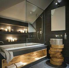 Traditional Bathroom - Design and Installation Wooden Bathroom, Rustic Bathrooms, Diy Bathroom Decor, Small Bathroom, Bathroom Ideas, Bathroom Color Schemes, Contemporary Bathroom Designs, Modern Tiny House, Traditional Bathroom