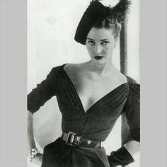 Dior outfit, 1947. #newlook #dior #vintage #40s #1940s #vintageclothing #fashion #designervintage #bnw #vintagedior #model #decollotage by basyaberkmanvintage http://instagram.com/p/wB3_KxwPGl/