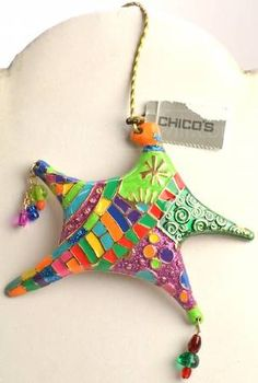 Chicos eclectic rainbow mosaic star Christmas ornament