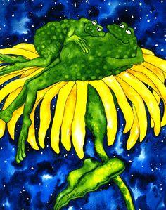 Whimsical frogs Paintings | Hubbs Art Folk Prints Whimsical Flowers Toad Frogs Animals Painting