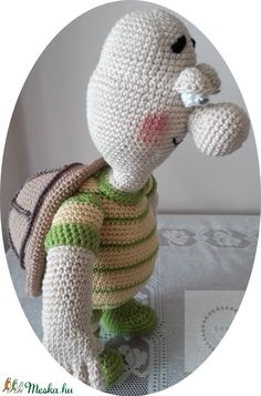 Teknőc Ernő (hoby) - Meska.hu Yoshi, Dinosaur Stuffed Animal, Crochet Hats, Toys, Animals, Fictional Characters, Art, Amigurumi, Knitting Hats