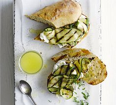 Courgette & goat's cheese ciabatta. Simple sandwiches to whip up as a speedy vegetarian supper or lunch