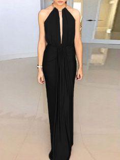 Black Halter Neck Cutaway Cut-out Back Maxi Dress