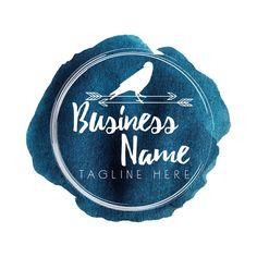 Custom Logo design, blue navy and white watercolor seal logo, navy round logo watermark, watercolor business Logo, photography logo crow
