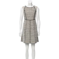 Pre-owned Nina Ricci Tweed Sheath Dress ($175) ❤ liked on Polyvore featuring dresses, neutrals, cream dress, white sheath dress, pre owned dresses, scoop neck dress and preowned dresses