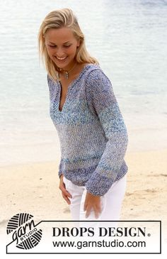 Hard to chose one, but I love a cotton pull over on a cool night by the water Ravelry: Pullover in Safran and Cotton Viscose pattern by DROPS design Crochet Pullover Pattern, Sweater Knitting Patterns, Knit Patterns, Knit Cowl, Summer Knitting, Easy Knitting, Finger Knitting, Crochet Woman, Knit Crochet