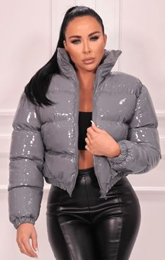 Women's Puffer Coats, Puffer Jackets, Winter Jackets, Silver Puffer Jacket, Gray Jacket, Coats For Women, Jackets For Women, Ladies Coats, Cute Swag Outfits