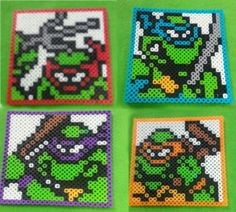 Perler bead, TMNT, Ninja Turtles, framed, Donnie, Raph, Leo, Mikey. by WildCardWhimsys on Etsy https://www.etsy.com/listing/250140684/perler-bead-tmnt-ninja-turtles-framed