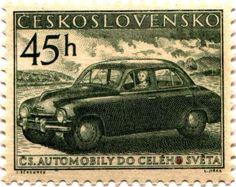 Skoda , Czech automobile manufacturer founded in 1895. Czechoslovakia stamp