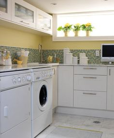 sarah richardson is totally my dream designer. just look at what she did for this laundry room. note to self, counter over the washer and dryer to maximize folding space.